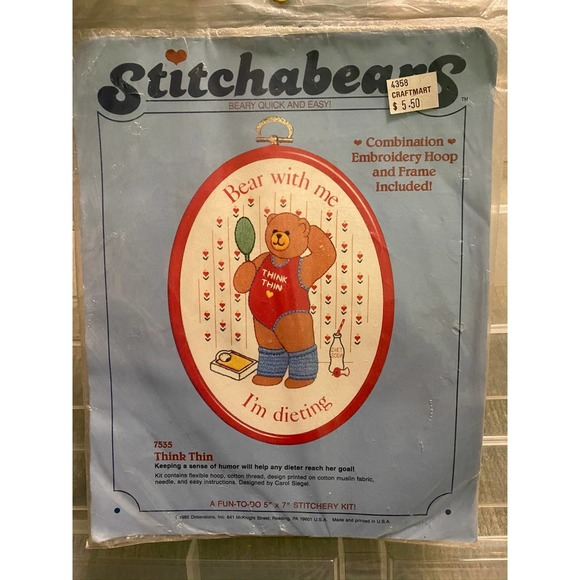 Stitchabears think thin embroidery kit